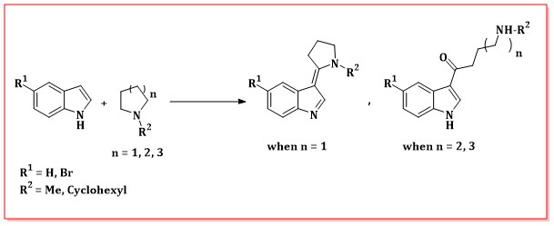 Tertiary cyclic amides in Vilsmeier type reaction with indoles