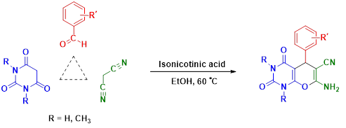 Tandem Knoevenagel-Michael-cyclocondensation reaction of malononitrile, various aldehydes and barbituric acid derivatives using isonicotinic acid as an efficient catalyst